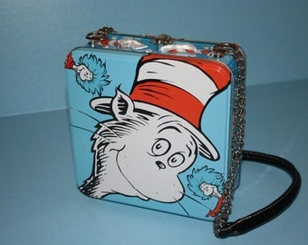 Altered metal lunch box Cat in the Hat Purse