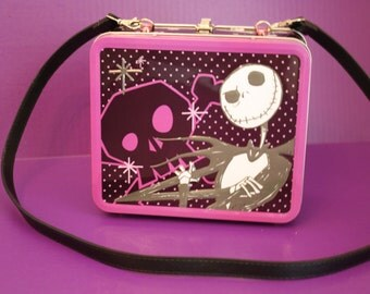 Altered metal lunch box Jack Skeleton Nightmare Before Christmas Purse