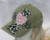 Cross and Heart Rhinestone Accented Hat