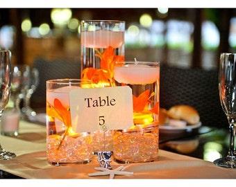 Floating Candle Wedding Centerpiece Kit Orange Lilies LED lights