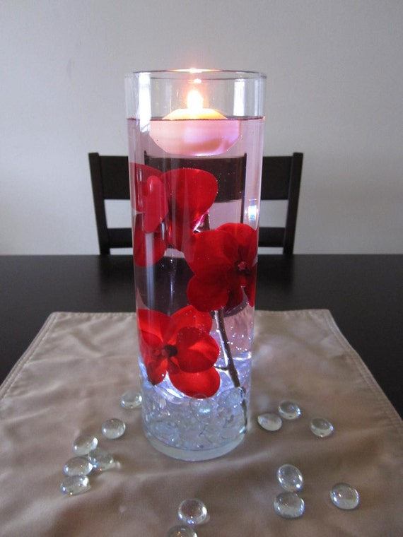 Items similar to floating candle centerpiece kit with silk