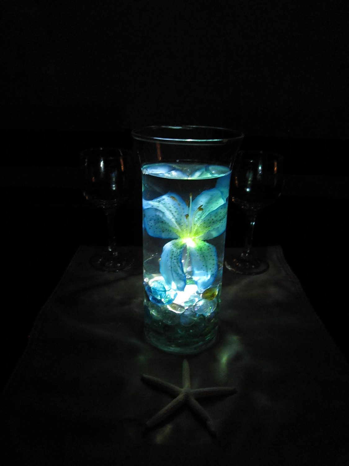 Ocean blue tiger lily wedding centerpiece kit by for Midnight blue centerpieces