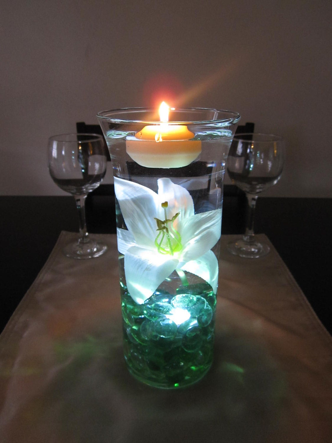 White lily centerpiece kit with sea green marbles and led