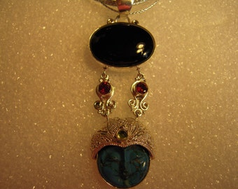 Regulate Cycles In Your Life by wearing the...Blue Turquoise Moon Face With Garnet And Peridot...ON SALE