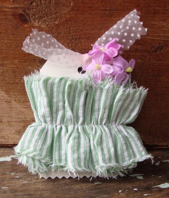 Grass Green and  Crisp White Seersucker Ticking Handmade Ruffle Ribbon Trim