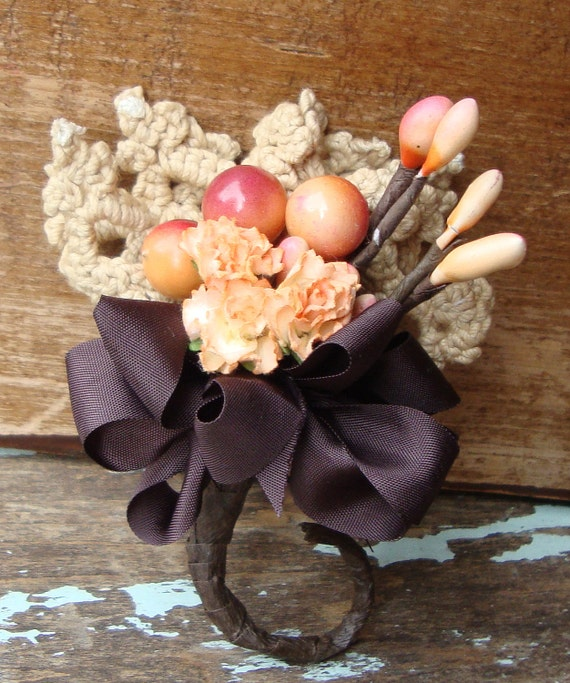 Peach and Brown Millinery Stamen Paper Flower Vintage Lace Bouquet Boutonniere
