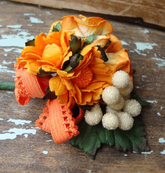 Vintage Creamy White Frosted Stamen with Sunset Orange Flower Bouquet Boutonniere