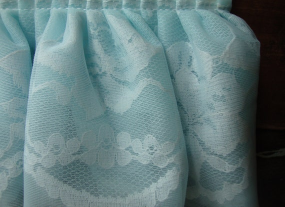 Vintage Wide Baby Blue Ruffle Ribbon Trim with Lace