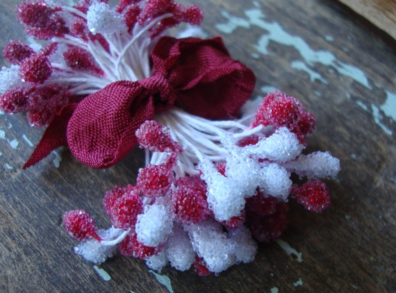 Cherry Red and Snow White Frosted Sugared Millinery Stamen