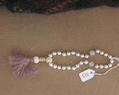BUDDHIST HAND MALA, 27 beads, prayer beads,swarovski pearls,   hand knotted, ook design, free shipping