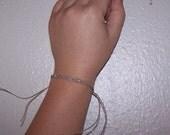 Hemp Braided Wish Bracelet With Clear Pink Beads
