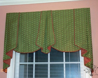 CUSTOM WINDOW VALANCE - Your Fabric Made-to-Order - Up to 48 Inches Wide