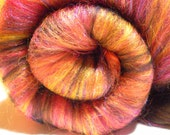 Fiber Batt for Spinning or Felting - Hand Carded - Nebula
