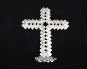 Vintage PRISON ART CROSS.made with cigarette foil papers...7 in. X 6 in. wide..silver..