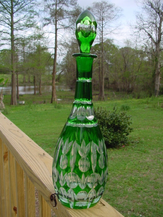 Vintage CRYSTAL DECANTER..Pineapple Design Cut Green Heavy Georgeous Rare
