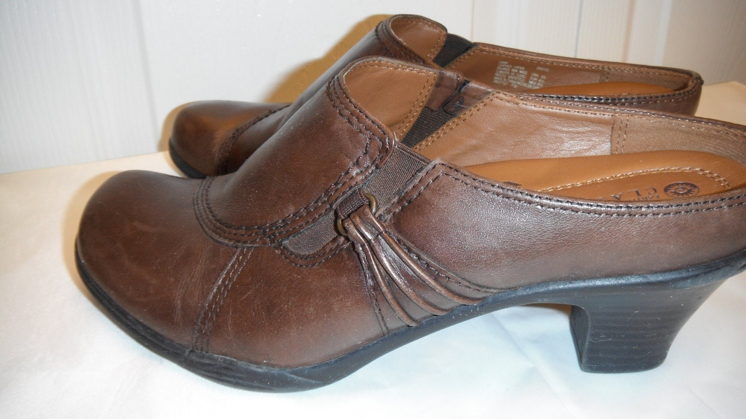 vintage 90s brown leather slip ons shoes 8 5 by