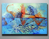 Art Painting Acrylic Abstract painting  Hidden Orange Elefant With Striped Creature On The Back ORIGINAL PAINTING