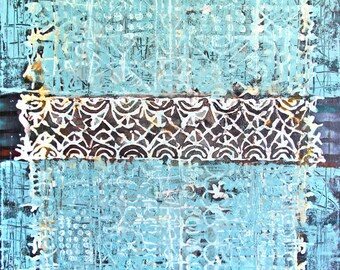 Art..Painting.. Canvas painting.. Blue painting..Ornament painting..ORIGINAL PAINTING  Vintage Fabric   Antique Swatch Ornaments Tapestry
