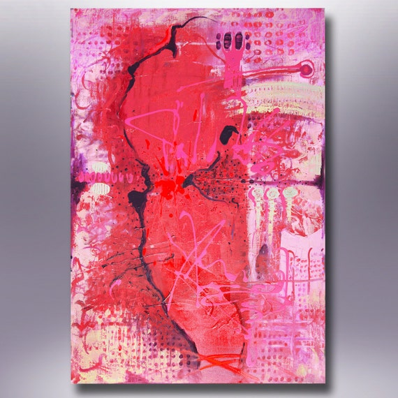 ORIGINAL ABSTRACT PAINTING  Red And Pink 36''x24'' Acrylic on Canvas