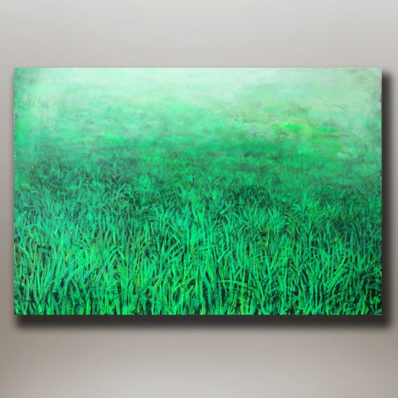 """ORIGINAL ABSTRACT PAINTING Green Grass 24""""x36"""" Acrylic on Canvas"""