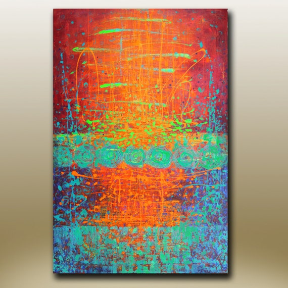 ORIGINAL ABSTRACT PAINTING Red Green Blue Color Splashes 36''x24'' Acrylic on Canvas