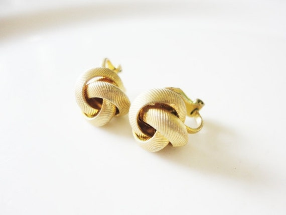 little textured gold tone knots clip on buttons earrings FREE domestic SHIPPING