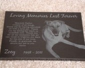 "8 1/2""x11"" Black Granite Pet Memorial Stone Plaque Personalized ONE Animal"