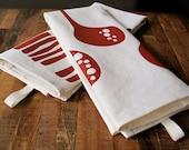 SALE - Hand Printed Tea Towel in Burnt Orange