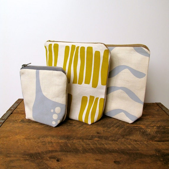 Hand Printed Eco Pouch Purse - Cream and Mustard Yellow
