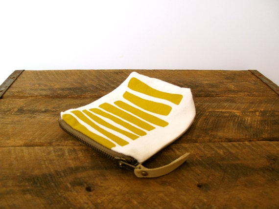 Mustard Yellow Eco Zipper Pouch - Screen Printed