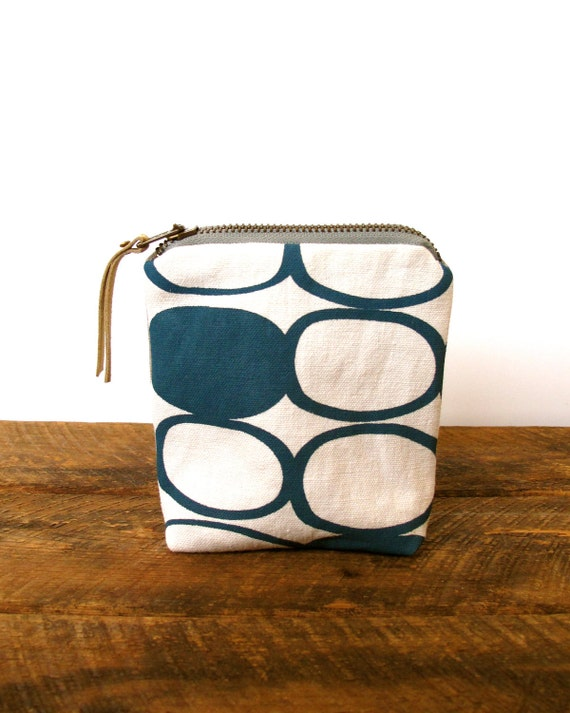 Eco Zipper Pouch - Hand printed teal