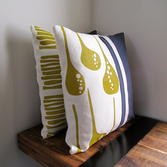 Navy and Yellow Eco Pillow Cover - hand printed