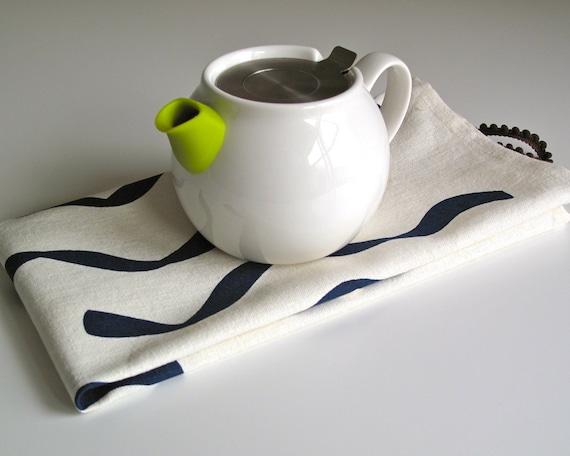 SALE - Navy Tea Towel Hand Printed Organic Hemp Cotton