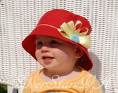 SALE Sun Hat, Red Cotton with Yellow Flower, Size 6-24 months
