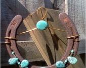 Turquoise Teardrops- Handcrafted Beaded Horseshoe