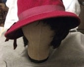 1930s Shabby Chic Ritz Wool Hat Made by FAMED Hat Maker Henry Pollak in Cherry Red w Satin Grosgrain Ribbon Now Only 6 USD