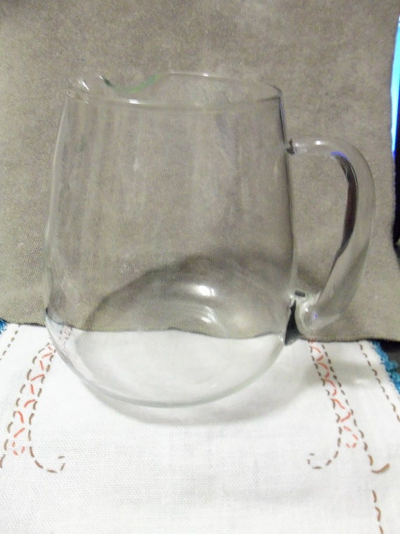Mexican Made Hand Blown Vintage Glass Pitcher with Handle and Original Sticker ONLY  8 USD