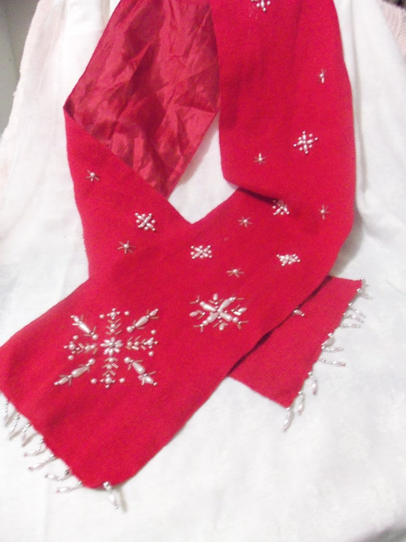 Vintage Red Wool Scarf with Satin Lining has Fancy Pearl and Beaded Snowflake Designs Only 4 USD