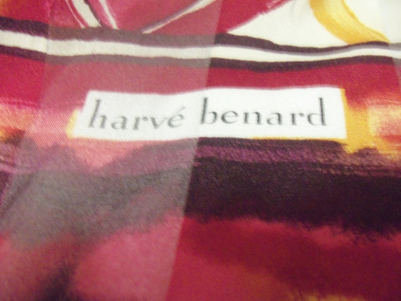 Vintage Silk Retro Print Scarf by Harve Benard full 5 Feet in length Late 1960s ONLY 8 USD