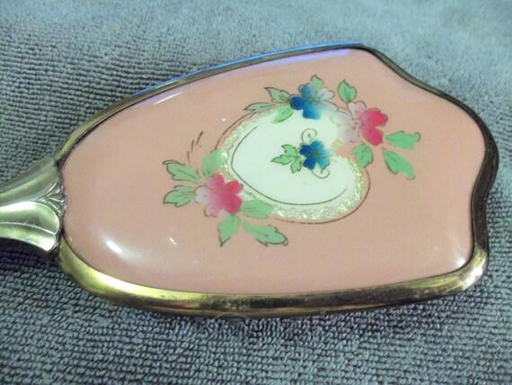 Brass Handled Vintage Hair Brush floral trimmed pink backing & All Original Natural Bristles 7USD