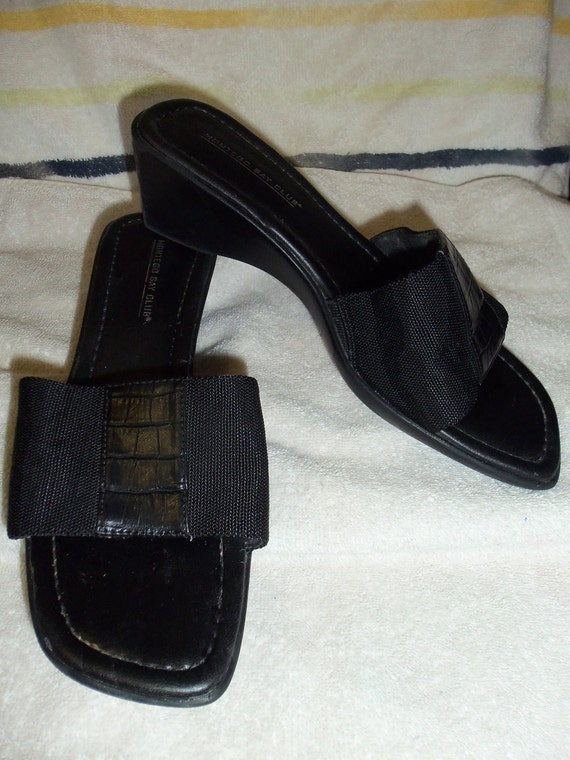 Vintage Black Open Toe Slides by Montego Bay Fabric Upper size 8 Wide  Only 3 USD