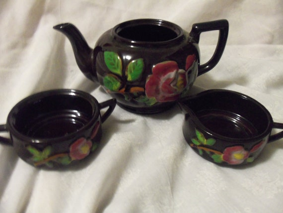 RESERVED for Modblossom Vintage Stacking Teapot Hand Painted Tea Roses with Creamer and Sugar Only 5 USD