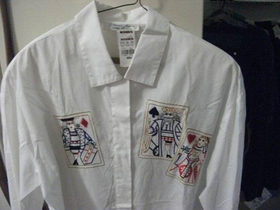 Vintage Ladies Blouse Embroidered King, Queen and Jack Playing Cards on Front size 10 Only 5 USD