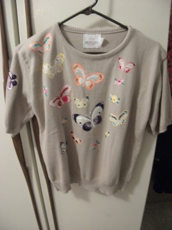 SALE 1/4 Off Vintage Tan Bentley Sweater with Colorful Crystal Trimmed Butterfly Appliques Size Large Now Only 6 USD