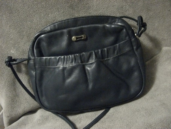 Private listing for Salisa Vintage Etienne Aigner Navy Blue Leather Shoulder Bag Purse with Outside Pocket Only 8 USD