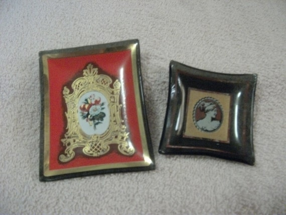 ONE Dollar SAlE Vintage Minature Glass Serving Trays Set of Two Both with Victorian Flair Now Only 1 USD