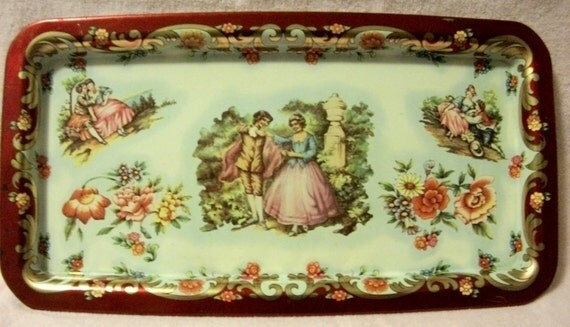 Decorated Daher Vintage Metal Serving Tray Made In England with Couple Painted in the Federalist Style Only 8USD