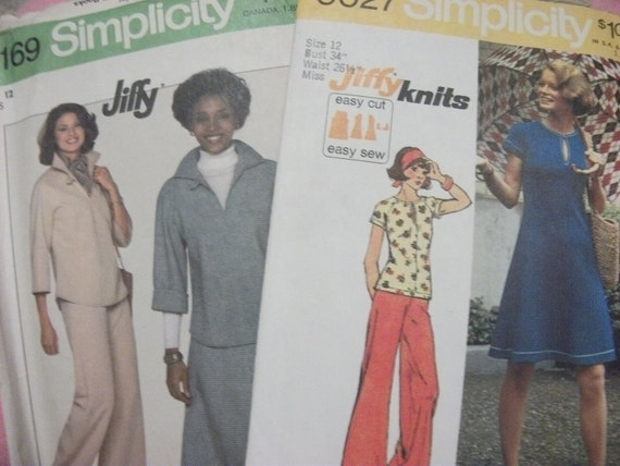 ONE Dollar SAlE Vintage 1973 & 1977 Patterns Includes Dress, Slacks, Skirt and Blouse UNUSED Size 12 Now 1 USD