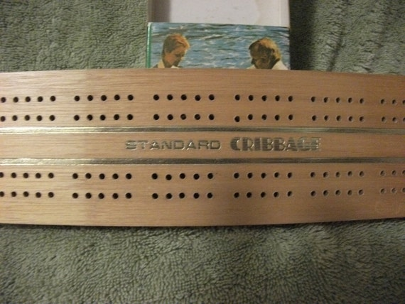 Vintage Wooden Cribbage Board Race Track Style w Original Box Only 4 USD