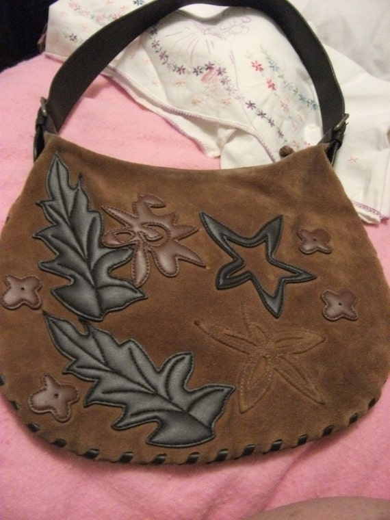 Brown Leather Bisou Bisou Vintage Purse Purchased in 1989 from Fashion Designer Michele Bohbot Collection for ONLY 10USD
